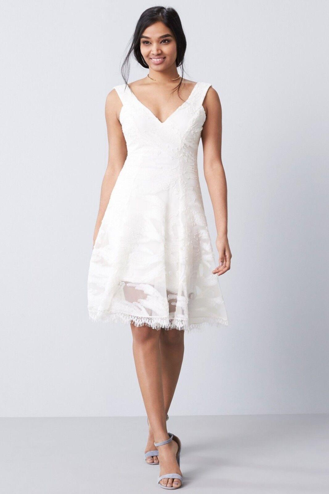 NEW Dress Dress Dress the Population Maya Woven Fit & Flare Dress Ivory [ SZ Medium ]  F34 23b0d1