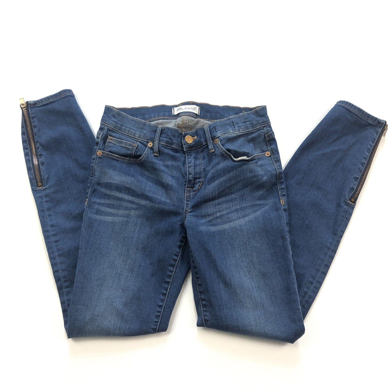 Madewell Skinny Skinny Ankle Side Zip Jeans medium dark wash sz 26