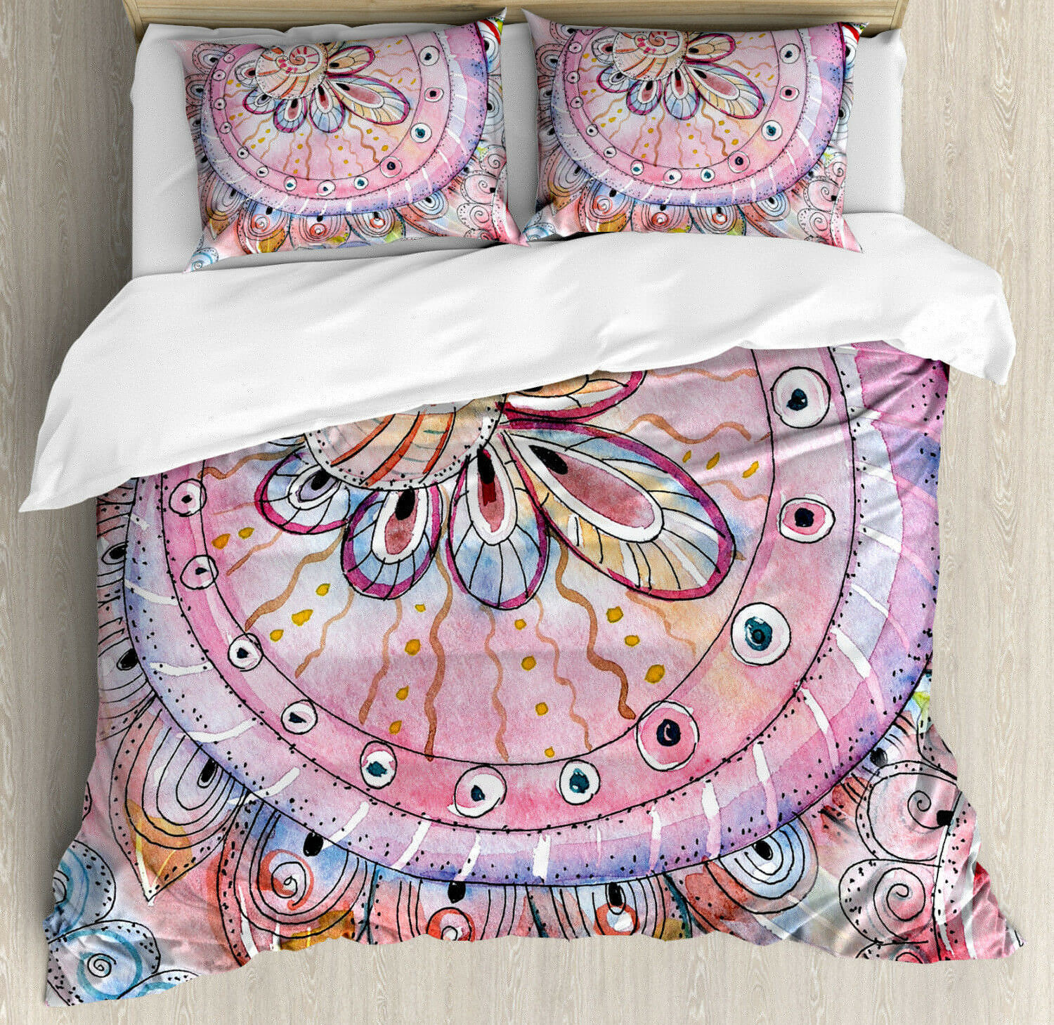 Eastern Duvet Cover Set with Pillow Shams WaterColoreee Effects Art Print