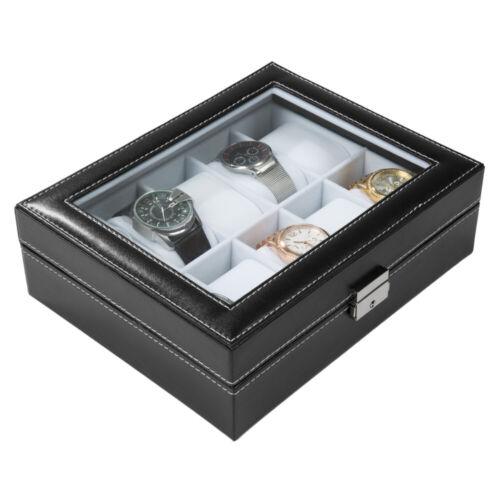 Coffret pour 10 montres boîte à montre boîtier rangement bijoux noir blanc