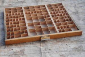 Setzkasten-alt-original-Druckerei-Vintage-shabby-Holz-Schublade-Industriestyle