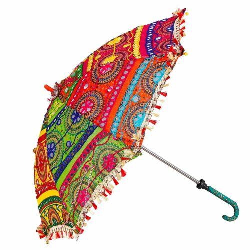 5 Pcs Lot Indian Decorative Wedding Umbrella Vintage Cotton Women Sun Parasols