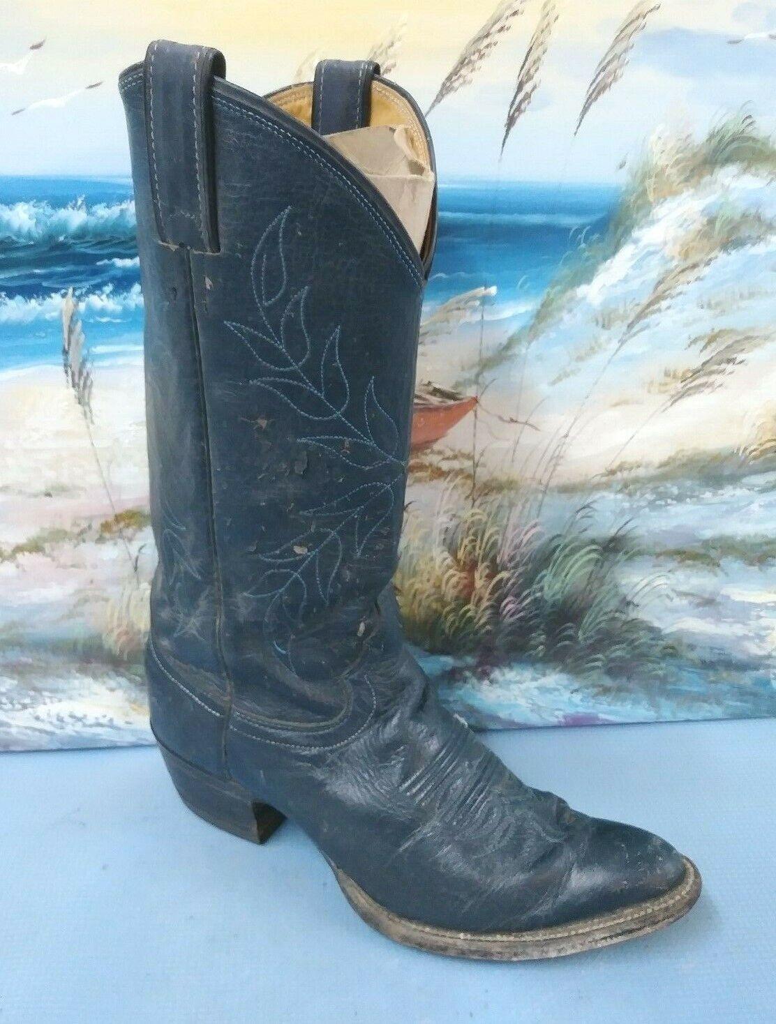 Justin Western Cowboy Negro cuero para mujer Bota B 8778