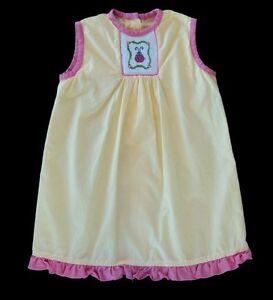 Girls-THREE-MOMMAS-Smocked-LADYBUG-Dress-Sz-1-12m-Sundress-Gown-Yellow-Boutique