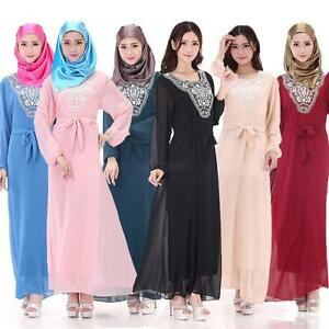 Kaftan Muslim Women Maxi Dress Abaya Jilbab Islamic Fashion Long Sleeve Dresses