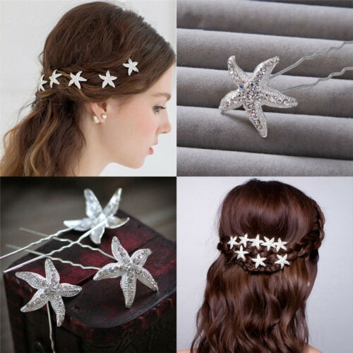 6pcs Girl Starfish Braid  Hairpin Headdress Wedding Party Hair Accessories new.