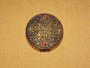 VINTAGE-COMPACT-WILD-ORCHID-ROUGE-JEWELLED-CASE-MISSING-RHINESTONES