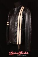 Men's DRIVER Black With BEIGE Racing Stripe Lambskin Motorcycle Leather Jacket
