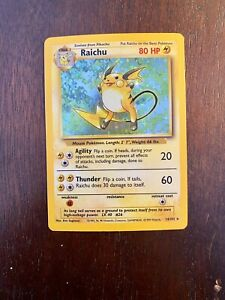 Pokemon Raichu Base Set 1999 WOTC Card 14/102Holo NM-EX RARE PSA Ready