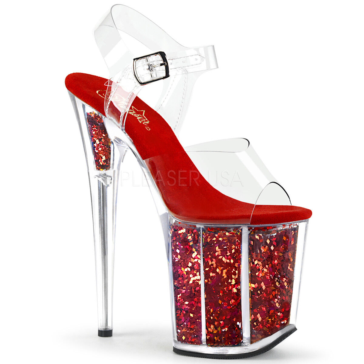 PLEASER FLAMINGO-808GF rot MULTI GLITTER PLATFORM POLE DANCING SANDALS schuhe