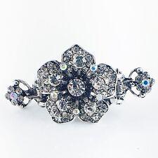 USA Hair Claw Clip Hairpin Rhinestone Crystal Vintage Barrette Flower Silver A07