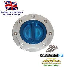 Oberon Performance Kawasaki Fuel/Gas/Race Cap Kit #FUE-0407-SILVER-BLUE