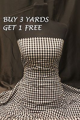 Small Navy Blue White Tartan Gingham Cotton Dress-Making Fabric Material