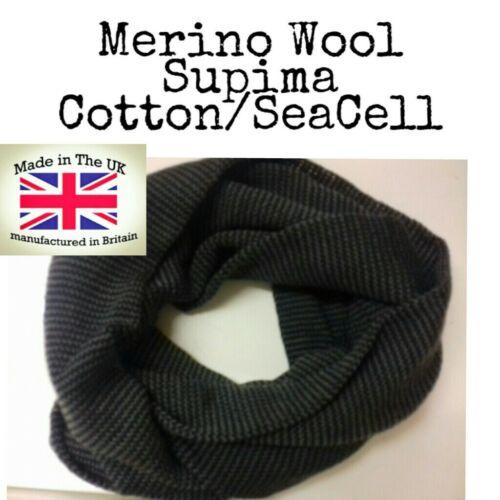 Men/'s snood Neck Warmer Ski Scarf Merino Wool //Cotton Supima//SeaCell