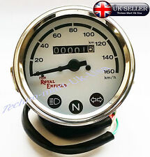 NEW ROYAL ENFIELD BULLET MOTORBIKE SPEEDOMETER 0-160 Km/h WHITE DIAL FACE @UK