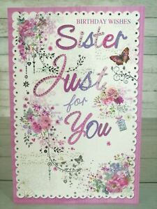 Sister Just For You, Birthday Wishes Card, Butterfly & Flowers, Pink