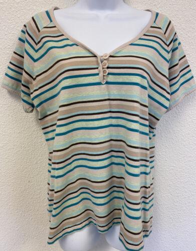 Christopher & Banks Women's Large Striped Short S… - image 1