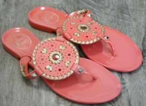 Jack-Rogers-Womens-Shoes-Size-6-Georgica-Jelly-Flip-Flop-Thong-Sandal-Coral