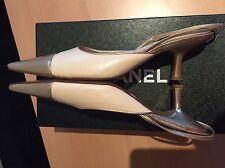 Chanel zapatos beige y oro, tamaño 37,5 UK 4,5, Fiesta Boda