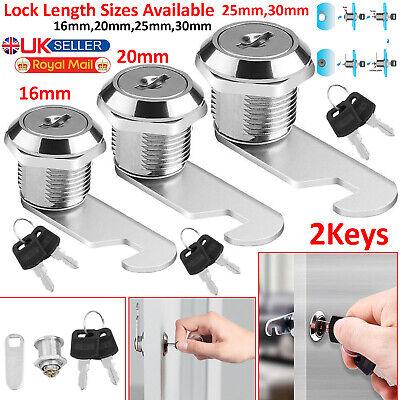 UK Cam Lock For Door Cabinet Mailbox Drawer Cupboard Locker 16mm 20mm 25mm+2 Key