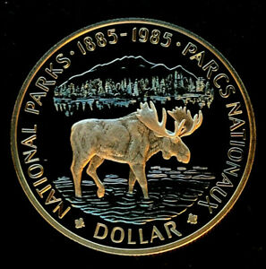 1985-Canadian-1-00-Silver-Specimen-Proof-Dollar-034-National-Parks-Centennial-034