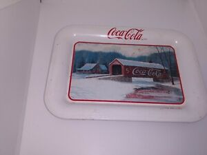 Vtg 1998 Coca Cola Jim Harrison Winter Bridge Advertising Mini Tin Tip Tray