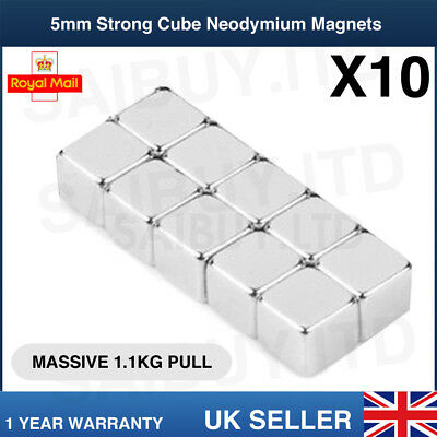10x * 5mm Cube * Strong Magnets Neodymium 1.1kg Pull Rare Earth Block Magnetic Verkoop Van Kwaliteitsborging