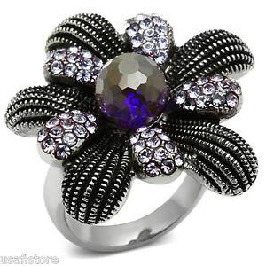 Amethyst-Purple-Floral-Silver-Stainless-Steel-Ladies-Ring