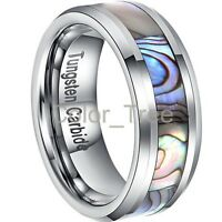 8MM Tungsten Carbide Mens Ring Wedding Band Color Abalone Green Inlay Size 7-13