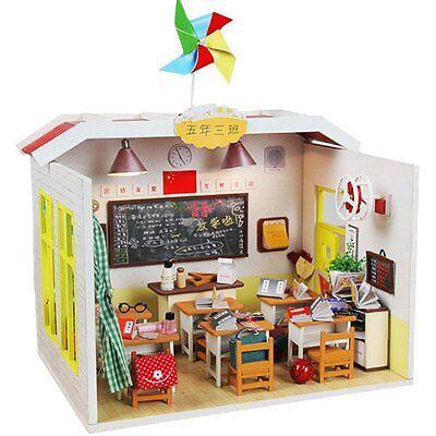 DIY Miniature Classroom Doll House Kits House Handmade Wooden Children Xmas Gift