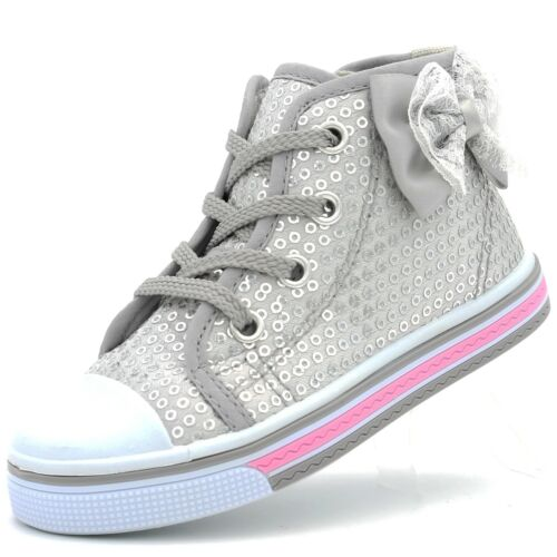 Girls Toddler Canvas Chaussures Sneaker Sangle Petit Enfant Bébé Fleur Sequin Semelle Souple