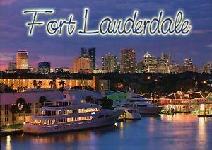 Details About Twilight In Fort Lauderdale Florida Skyline Boat Yachts Lights Fl Postcard