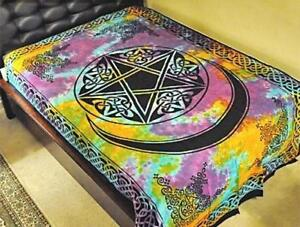 Tie-Dyed Pentacle with Moon Tapestry or Altar Cloth!