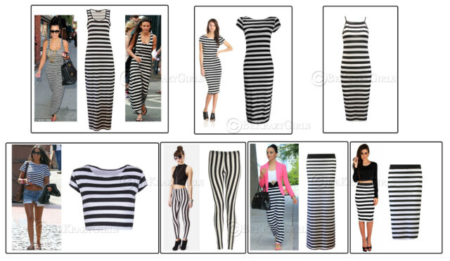 New Womens Ladies Celebrity Style Monochrome Stripe Maxi Dress Skirt Leggings