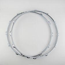 """2 14/"""" Snare Drum Hoops 10 Lug 2.3mm Black Nickel 1 Batter 1 Snare Triple Flange"""