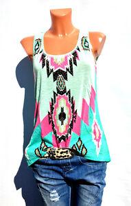 Damen-Top-Sommer-aermellos-Tanktop-Tunika-T-shirt-Bluse-Oversize-Bunt-Pastell