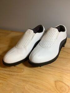 Adidas-Womens-Golf-Cleats-White-Black-Perforated-Slip-On-Shoe-679281-US-7-UK-5-5