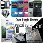 CUSTODIA FLIP COVER FINESTRA + VETRO TEMPERATO PER SAMSUNG GALAXY S6