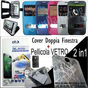 CUSTODIA-FLIP-COVER-FINESTRA-PELL-VETRO-TEMPERATO-PER-SAMSUNG-GALAXY-S3-i9300