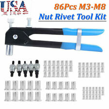 86pcs M3 M8 Hand Nut Rivet Gun Riveter Rivnut Nutsert Set Threaded Nut Rive Tool