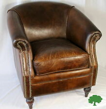 """Set of 2 Club Arm Chairs Small 27"""" Wide Vintage Brown Cigar Italian Leather Cool"""