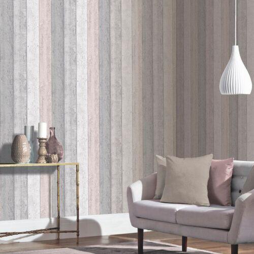 Arthouse Painted Wood Panel Effect Grey Blush Wallpaper Grain Rustic Realistic