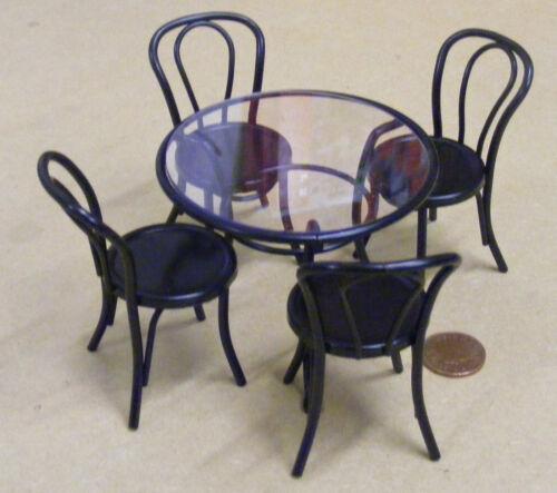 SCALA 1:12 black metal tavolo e 4 sedie casa di bambole tumdee CAFE PUB GIARDINO