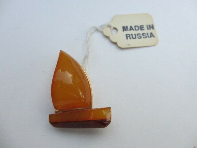 Vintage Russian Amber Sailboat Pin