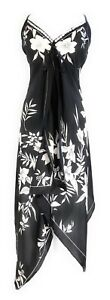 Ladies-V-Neck-Halter-Handkerchief-Hem-Embellished-Black-White-Floral-Dress-NWT
