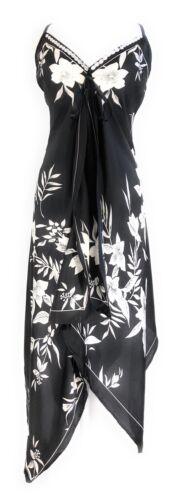 Ladies V Neck Halter Handkerchief Hem Embellished Black White Floral Dress NWT.