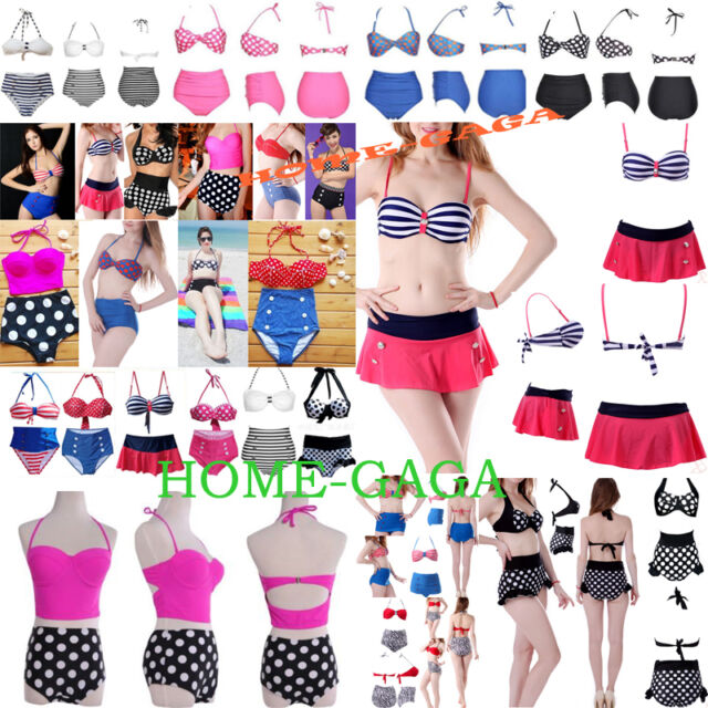 HOT Womens Vintage High Waist Retro Push-up Swimmers Bikini Set Swimsuit Bathers