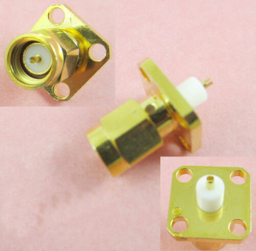 SMA Male Plug Chassis Panel Mount 4 Hole Panel Flange Solder Adapter Connector