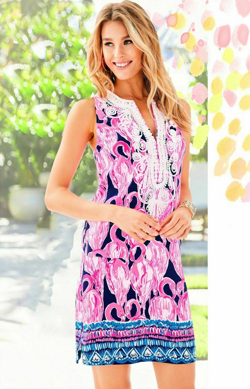 NWT LILLY PULITZER CARLOTTA STRETCH SHIFT HIGH TIDE NAVY VIA AMOR SZ 0