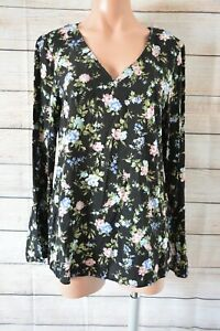 George-Top-Tunic-Popover-Blouse-Shirt-Size-12-Black-Pink-Blue-Floral-Bell-Sleeve